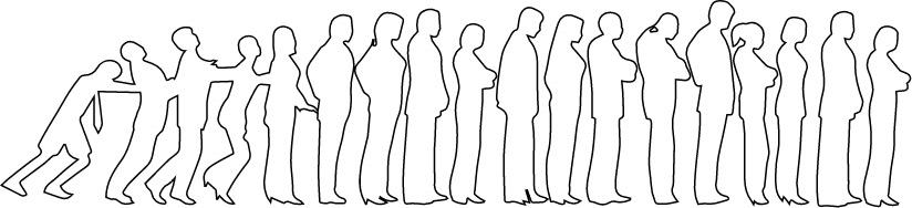Grafik Mitarbeiter in einer Reihe
