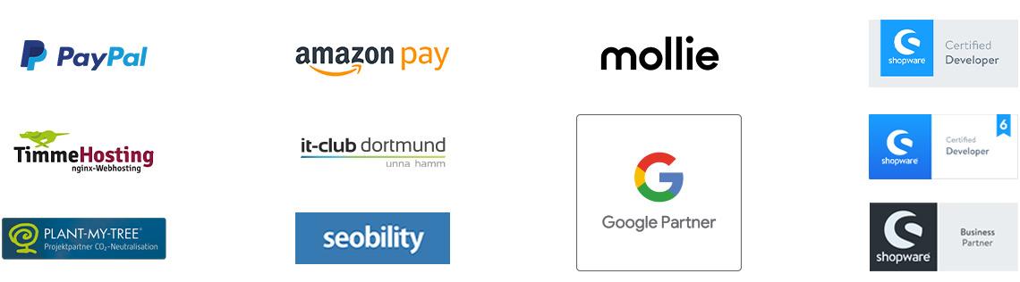Partnerschaften: PayPal, AmazonPay, Mollie, Seobility, Plant-My-Tree, Timme Hosting, IT Club Dortmund, Shopware AG, Shopware 6 - Certified Developer, Zertifizierung: Shopware 5 - Certified Developer, Google Ads Partner