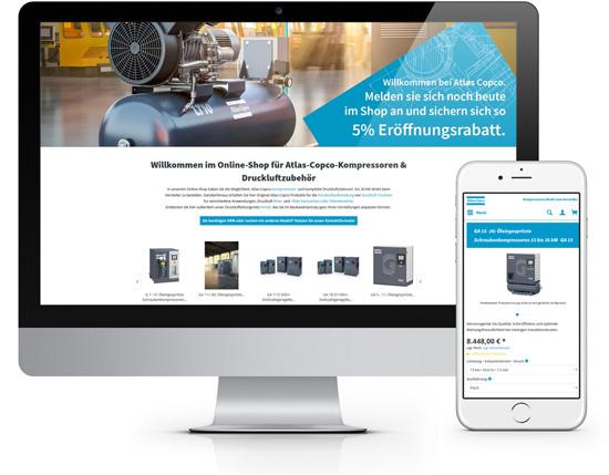 FotoAtlas Copco Kompressoren für Onlineshop Erstellung