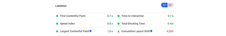 Labdaten PageSpeed