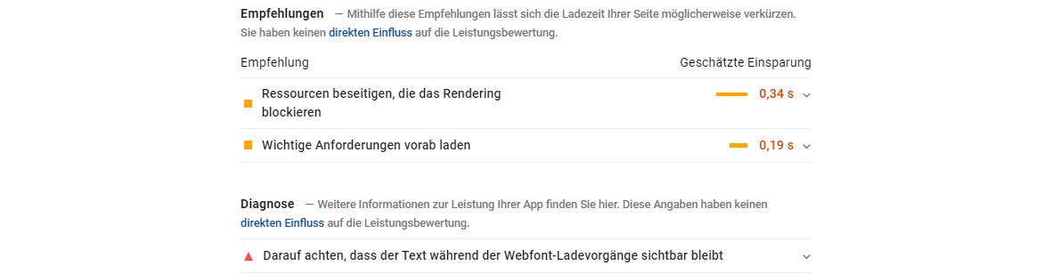 Empfehlungen PageSpeed