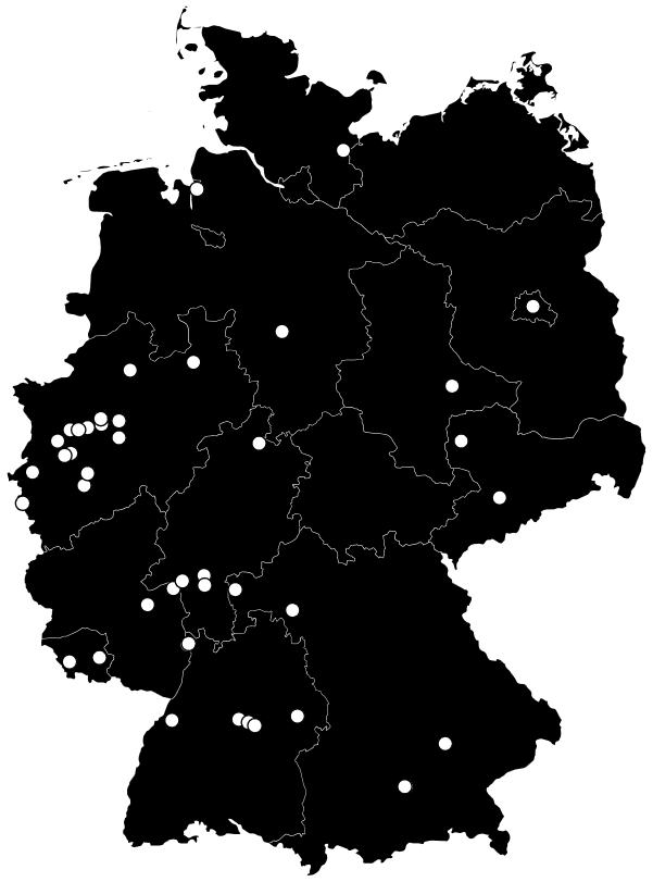 EXWE customers with 85 locations throughout Germany